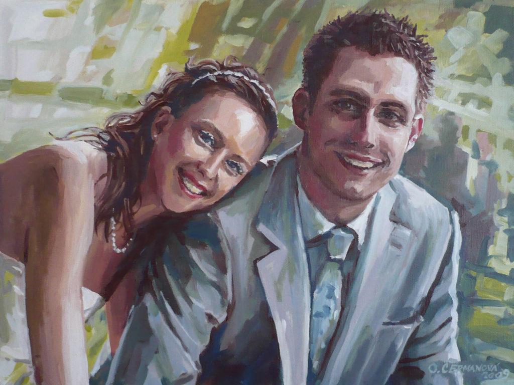 malovaný portrét podle fotografie