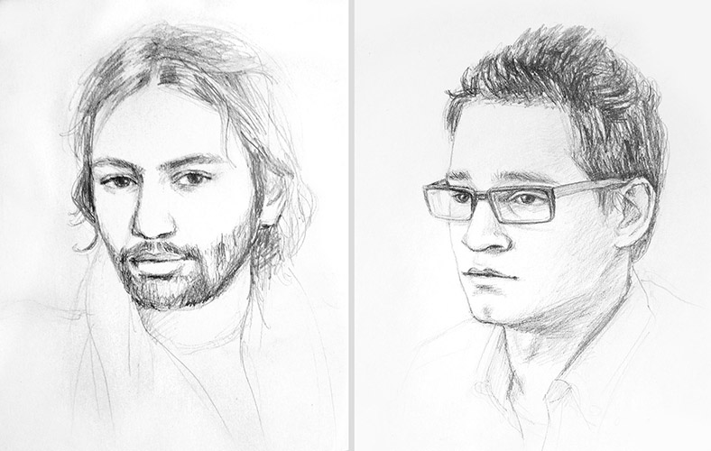kresba portrétu podle fotografie Praha