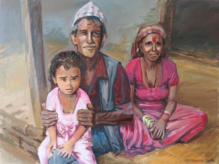 malovaný portrét rodina Nepál