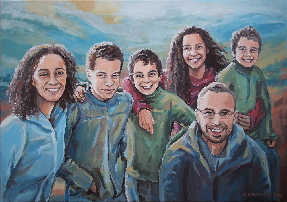 rodinný portrét podle fotografie malba