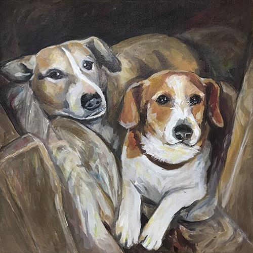 malovaný portrét psa na zakázku