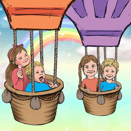 portrét děti ilustrace stylizace