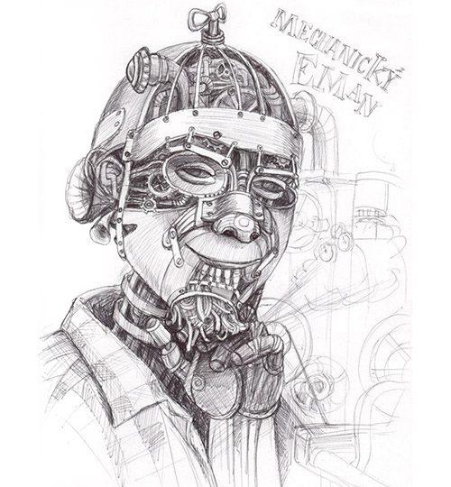 kreslený portrét steampunk surrealismus
