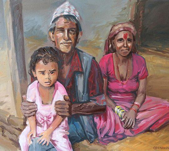portrét rodina malba