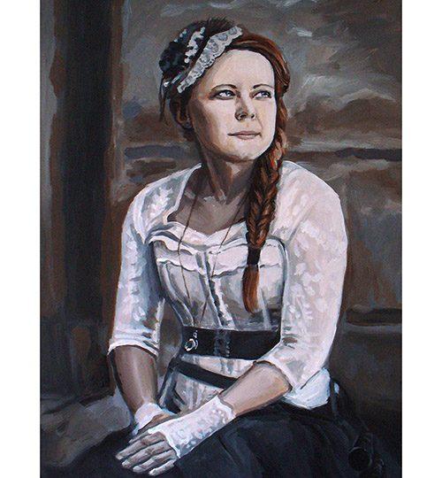malovaný portrét steampunk