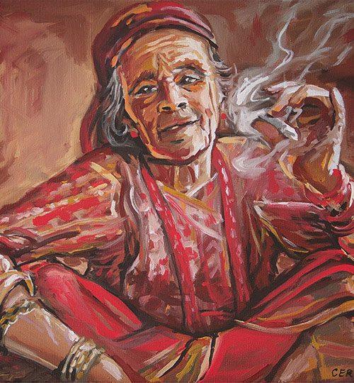 umělecký portrét stará žena
