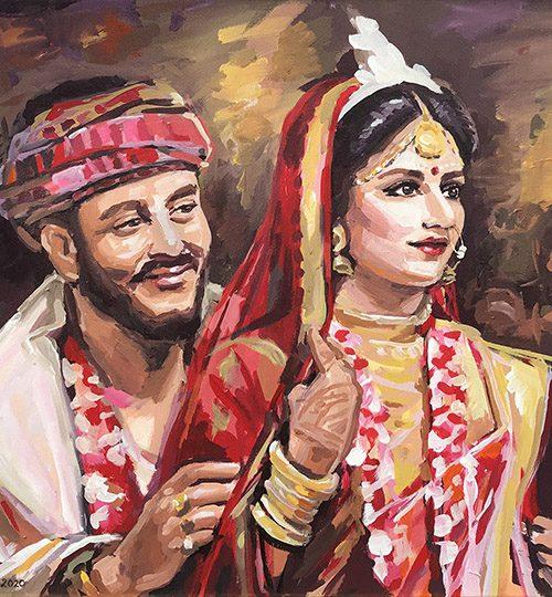 svatební dar malovaný portrét