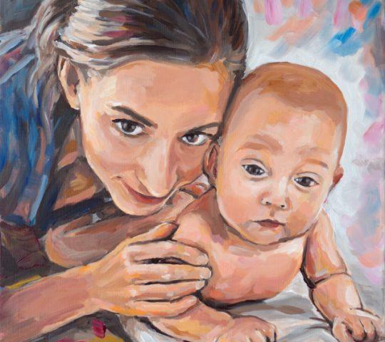 portrét matky s dítětem malba na zakázku