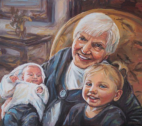 malovaný portrét - dárek pro babičku