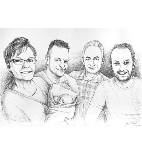 rodinný portrét kresba tužkou