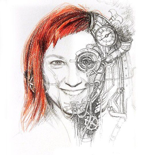 kreslený portrét steampunk