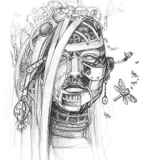 steampunk portrét